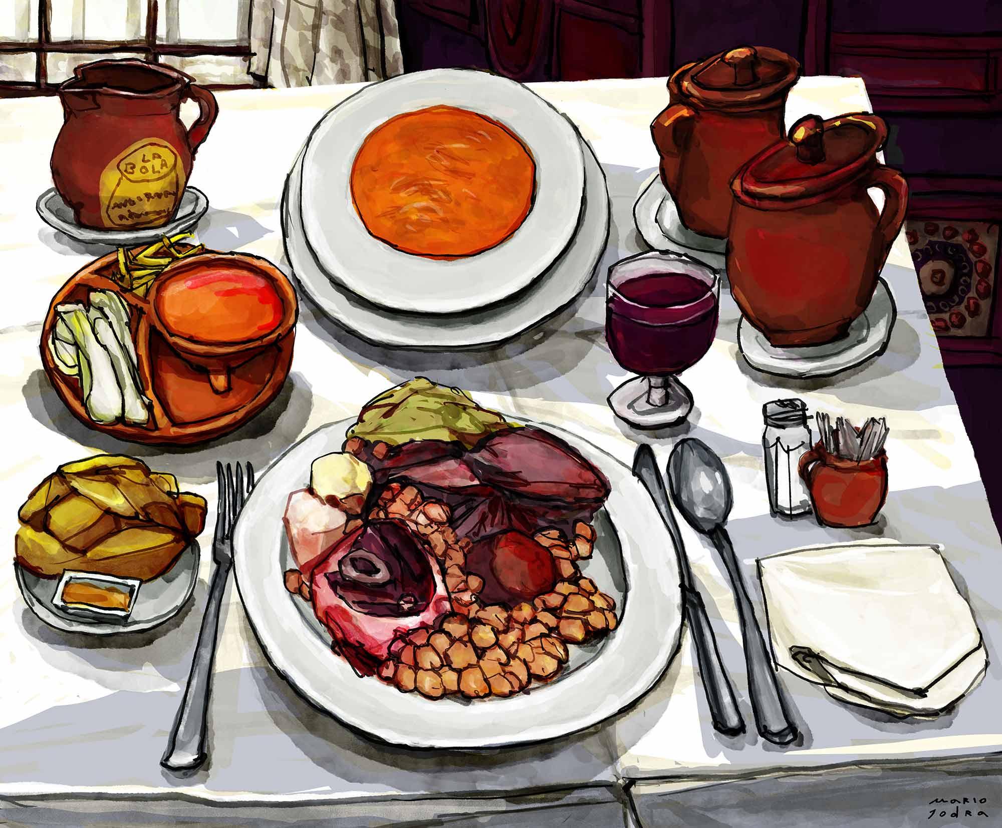 Mario Jodra illustration - Cocido Madrileño en el restaurante La Bola