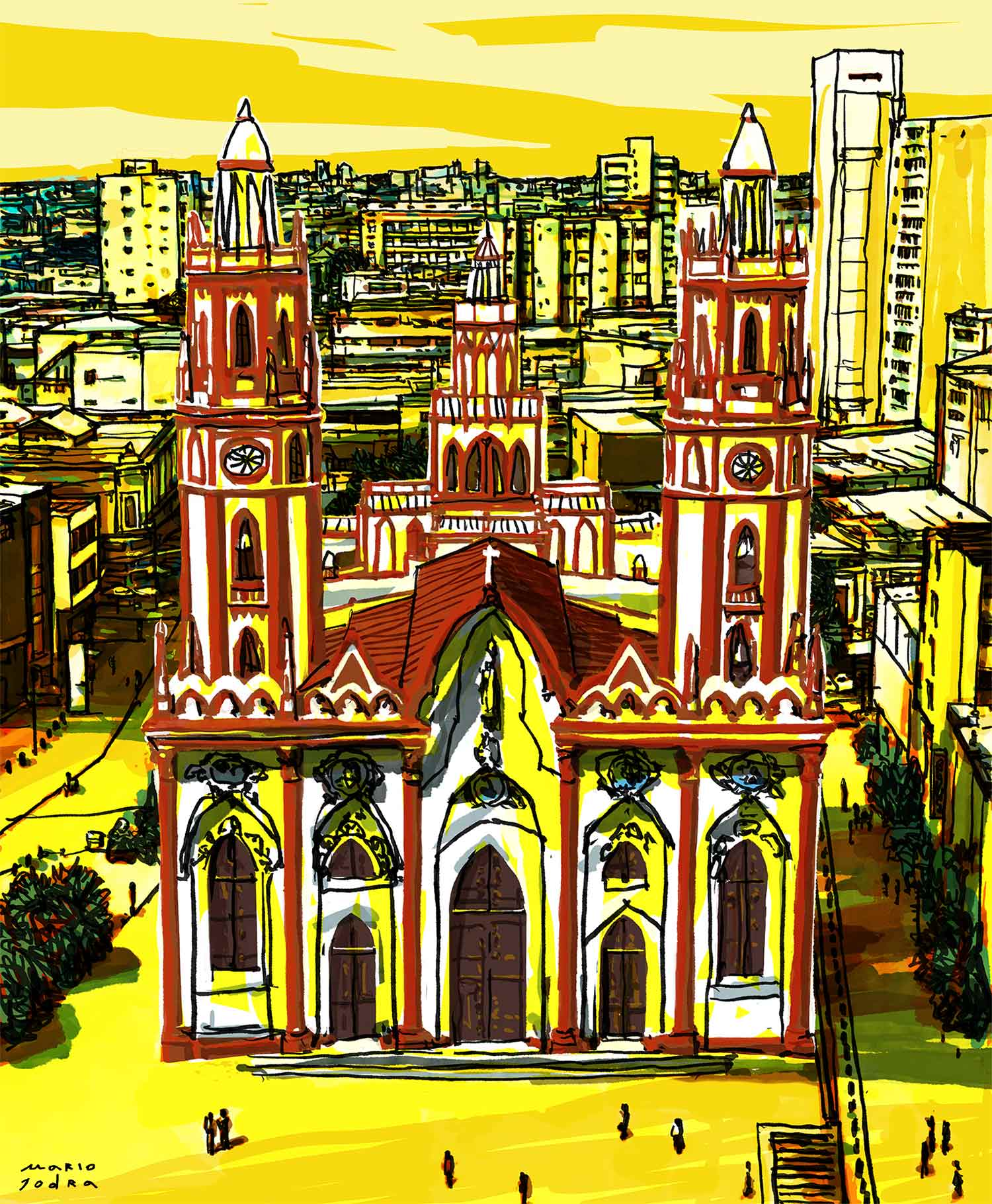 Iglesia de San Nicolás de Tolentino, Barranquilla, Colombia - Mario Jodra illustration ilustración