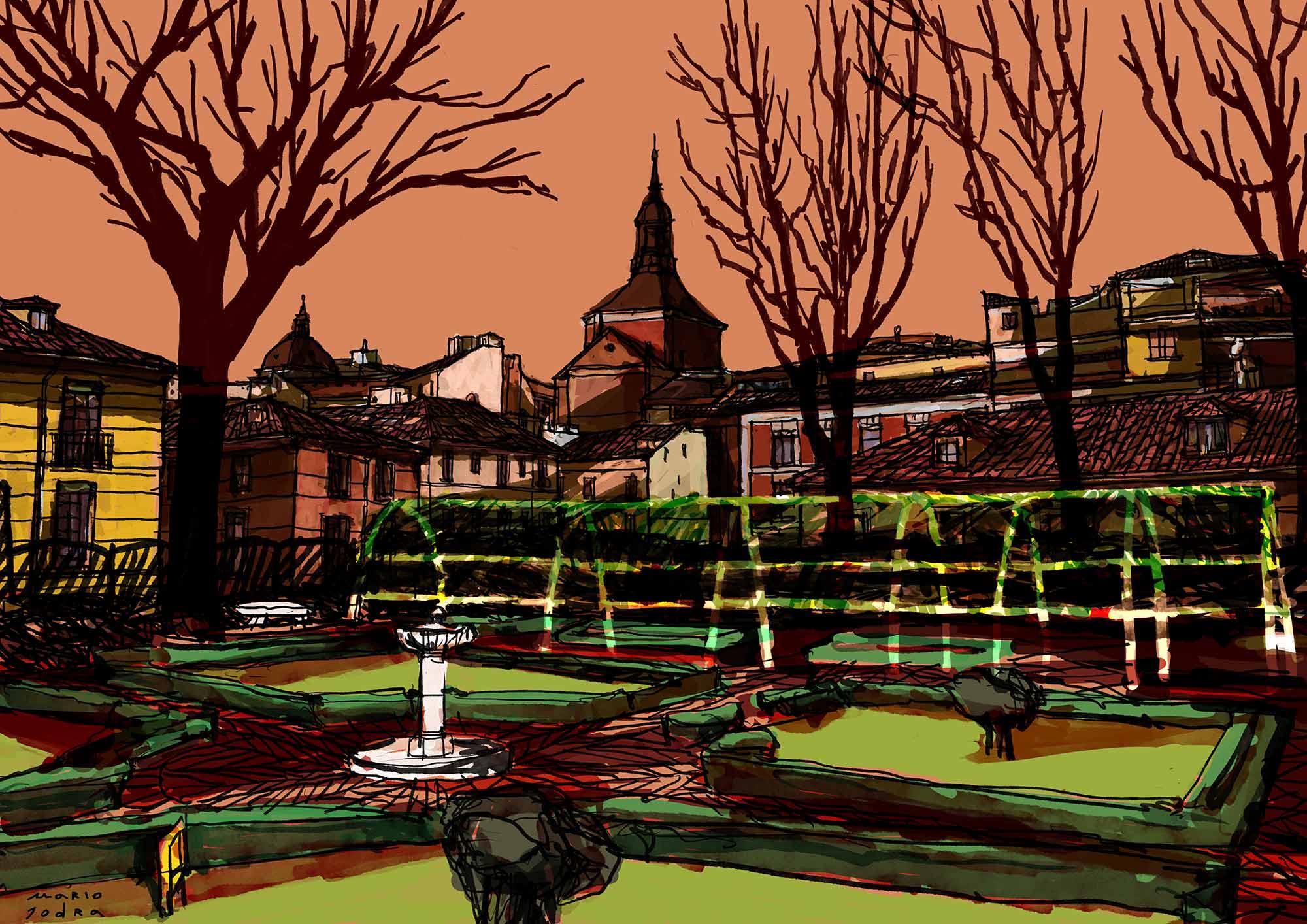 Mario Jodra illustration - Winter sunset at Prince of Anglona Garden - Atardecer de invierno en el jardín del Príncipe de Anglona, Madrid.