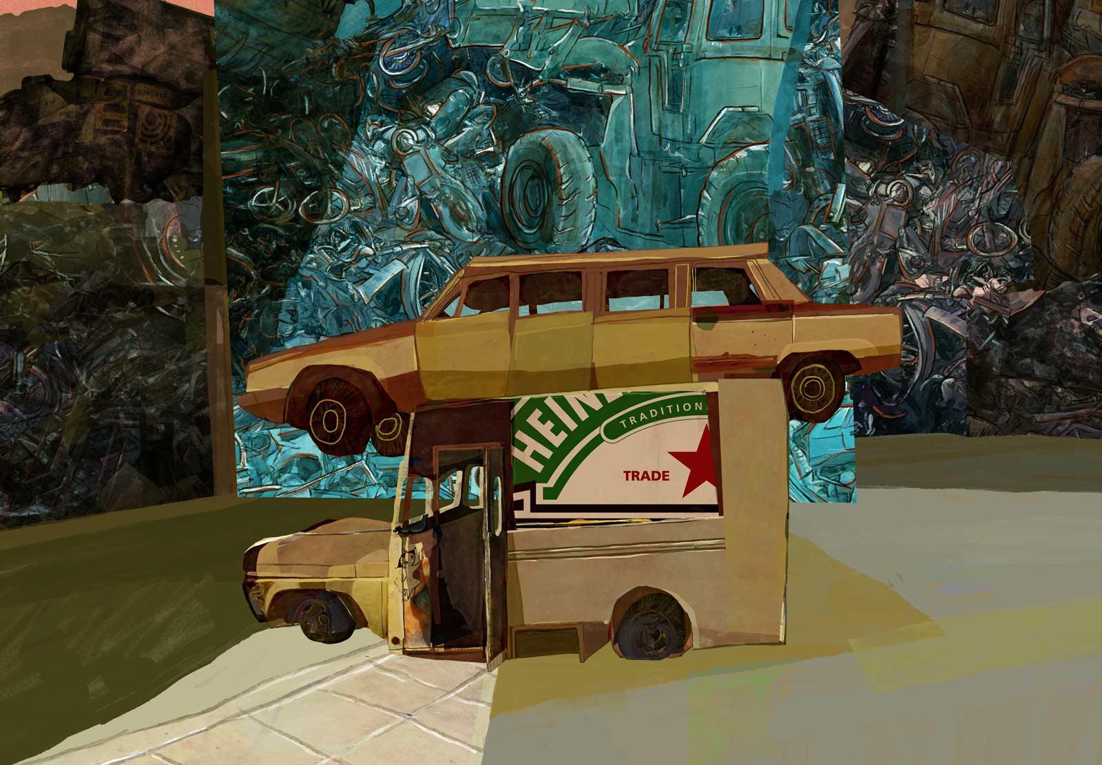 Cementerio de Automóviles. Le cimetière des voitures. Fernando Arrabal. Mario Jodra illustration
