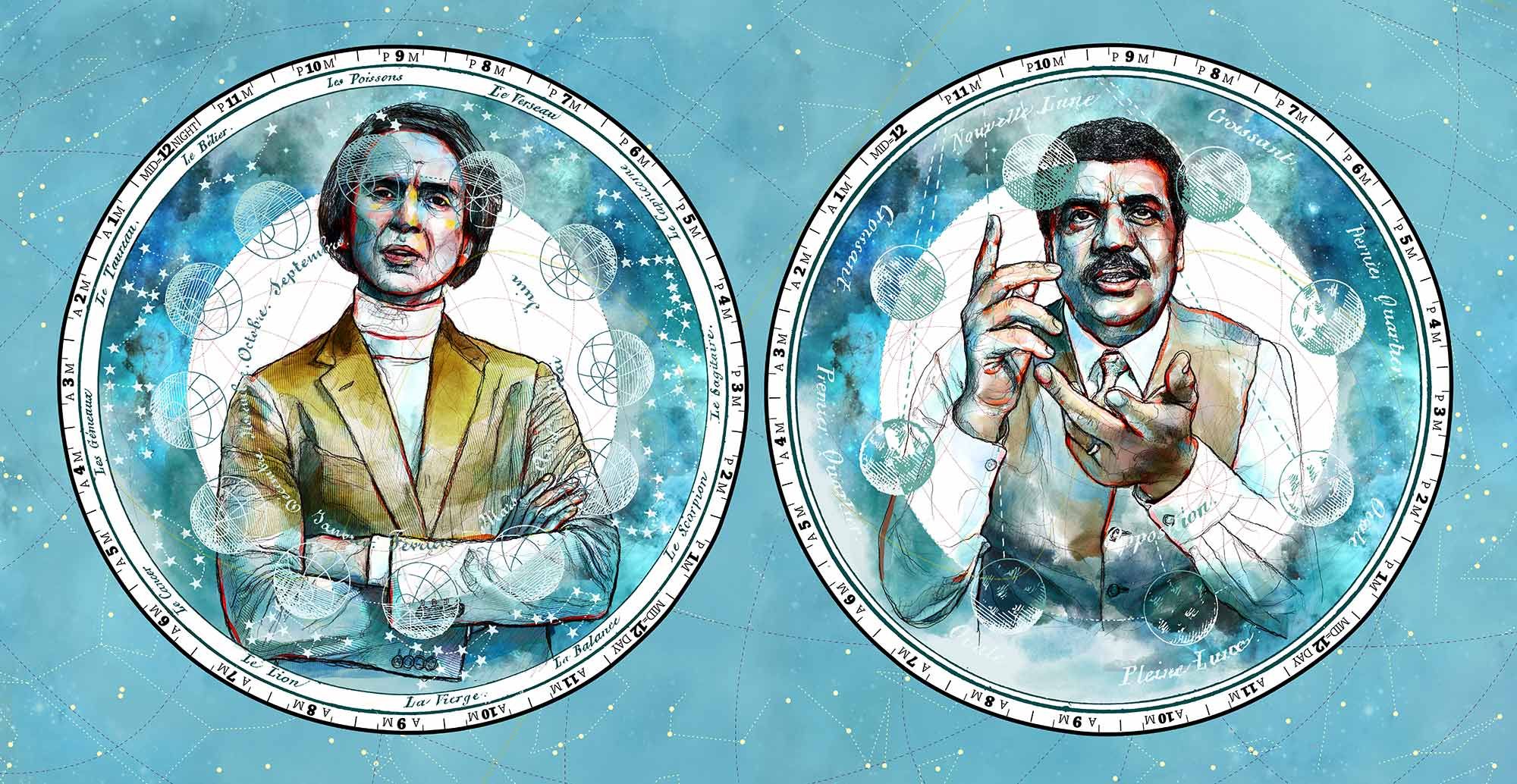 Cosmos: Carl Sagan and Neil deGrasse Tyson illustration. Mario Jodra. Mixed media. Pencil on paper + Digital