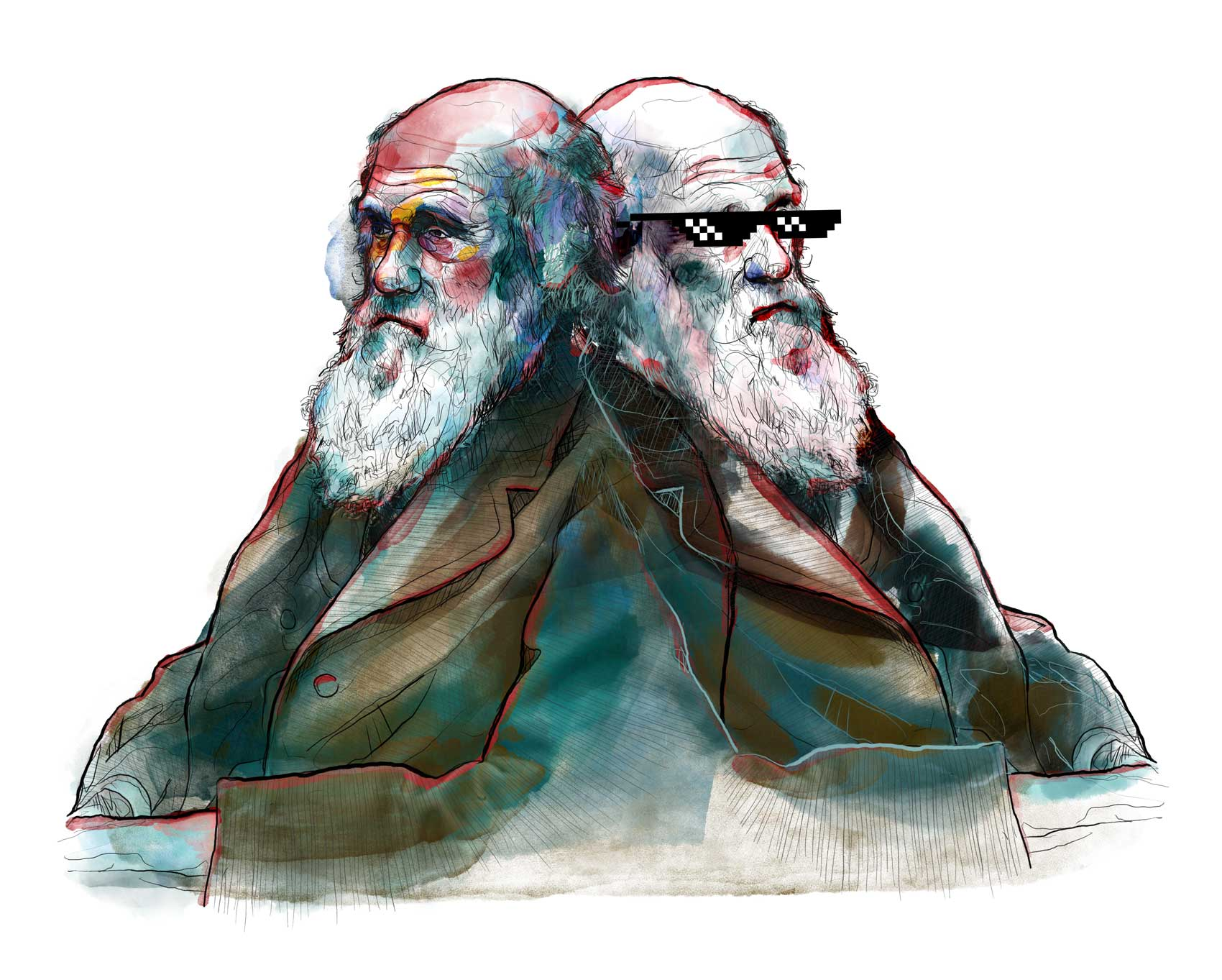 Charles Darwin DEAL WITH IT. Mario Jodra illustration. Mixed media
